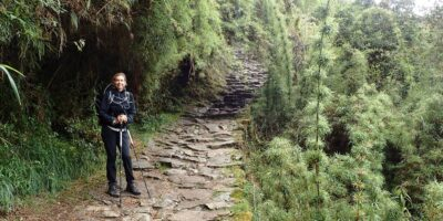 the original Inca trail and our very happy passenger