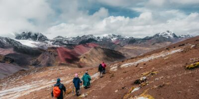 walking in Ancascocha surrounded by beautiful landscapes and mountains