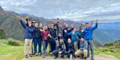 a group of friends very happy to do the ancascocha trek + Inca trail 7 days
