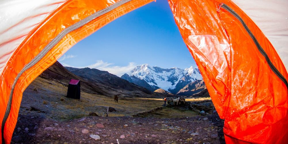 A beautiful view of the Ausangate mountain from our tent, on the Ausangate trek 7 days