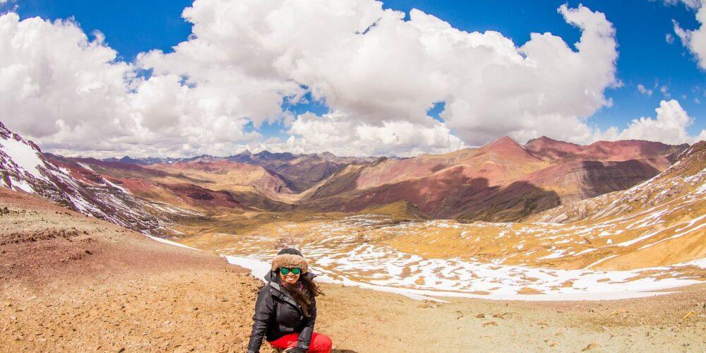 Enjoying breathtaking views in the red valley on the Ausangate trek to Machu Picchu 7 days