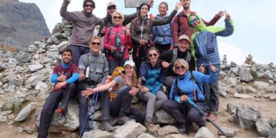 A photo with the group in the salkantay pass on the salkantay trek 3 days