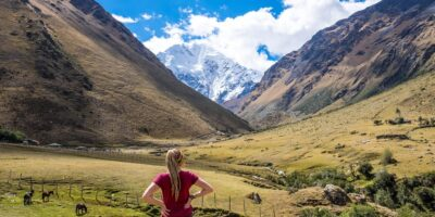 Beautiful view of the snowy mountain Salkantay the next day we will continue with the Salkantay trek 5 days
