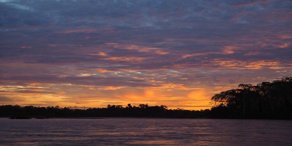 Beautiful sunset in tambopata tour