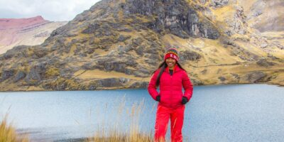 Our passenger is very happy next to Lake Pucacocha on the Ausangate trek