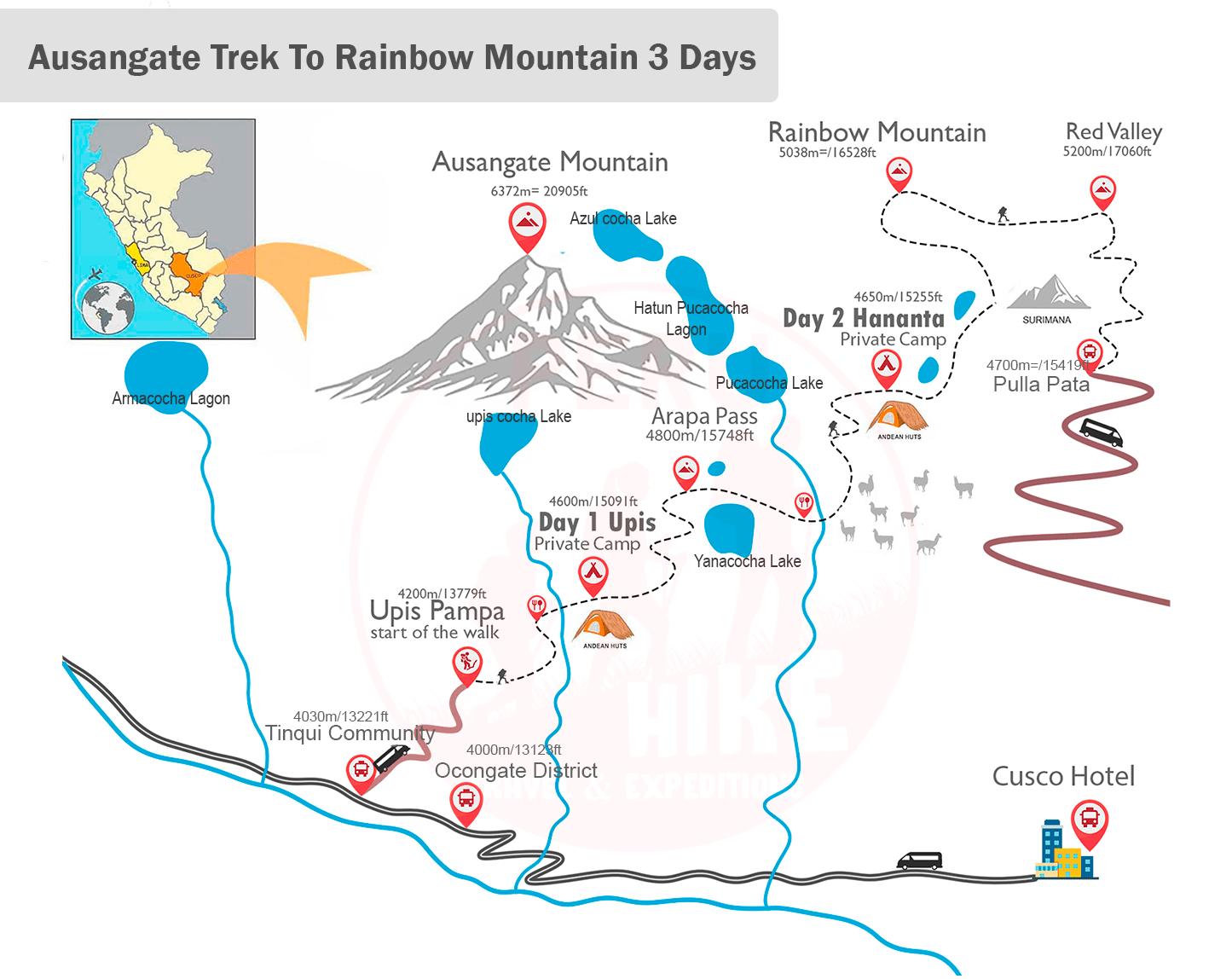 Inca Trail Map 2 Days Trek
