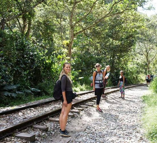We are walking along the train track to Aguas Calientes
