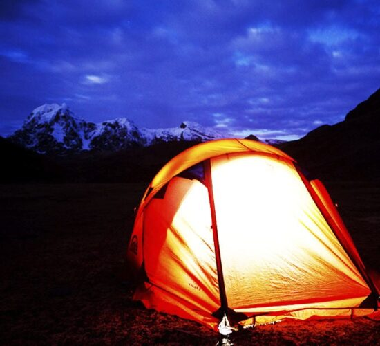 This is what our night camp looks like next to the Ausangate Neveda Mountain in Ausangate trek