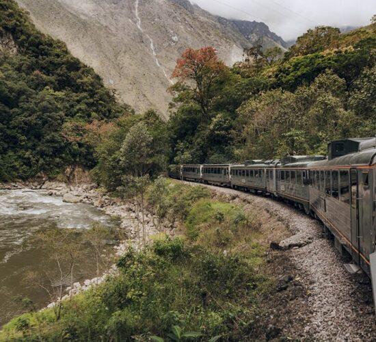 traveling by train to Machu Picchu town