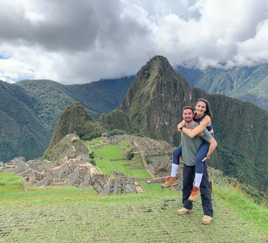 Machu Picchu a beautiful Inca city and a happy couple