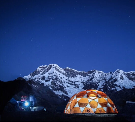 Our private camp at the base of the snowy mountain Ausangate for 7 days you will enjoy starry nights.