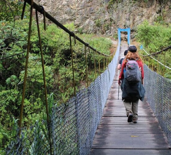 Passing the bridge with our group on the Salkantay trek 5 days