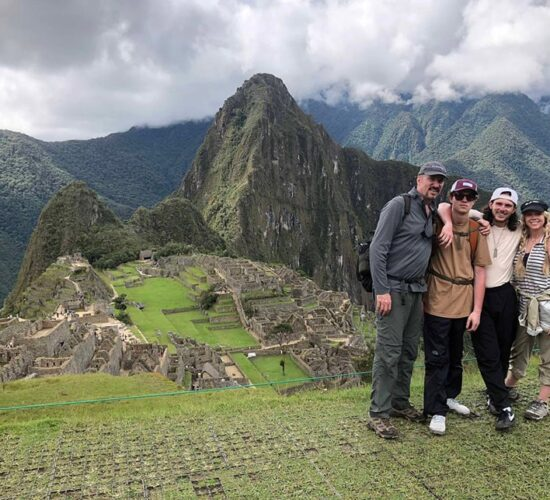 A happy family when arriving at Machu Picchu